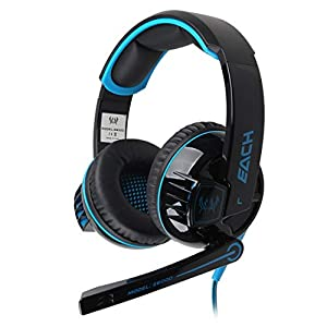 KARTELEI Stereo Gaming Kopfhörer Headset Stirnband mit Mic Lautstärkeregler Glaring LED Light für PC-Spiel
