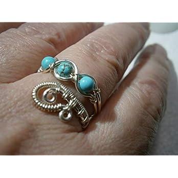 Ring mit Türkis blau im Spiralring Paisley silberfarben zum Hippy look im boho chic als Daumenring