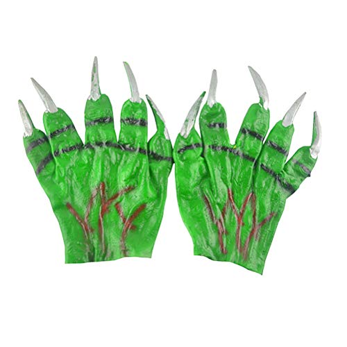 BESTOYARD Halloween Green Devil Handschuhe Scary Monster Performance Cosplay Kostümzubehör Party Favors