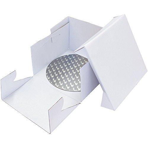 PME Runde Tortenplatte und Tortenschachtel 30 cm, Kunststoff, Weiß, 30 x 30 x 15.2 cm