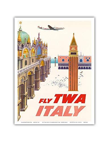 Pacifica Island Art Italien-Piazza San Marco (St. Mark Plaza)-Trans World Airlines Fliegen TWA-Vintage Airline Travel Poster von David Klein c.1962-Master Kunstdruck 9