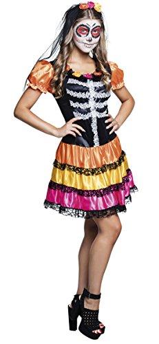 erdbeerclown- Halloween Kinder Teenie Kostüm Kleid + Schleier - Tag der Toten - La Catrina Mexikanisches Totenfest, 164-176, 14-16 Jahre, (Kostüme Angel Evil)