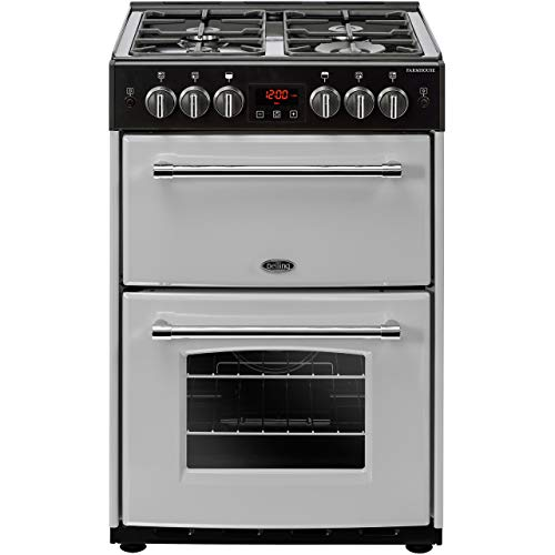 Belling Farmhouse 60G 60cm Double Oven Gas Cooker With Cast Iron Pan Stands - Silver