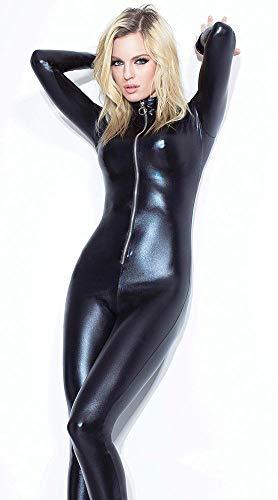 Siamesische Tanz Katze Kostüm - Frauen Catsuit PVC Skinny Sexy Leder Unterwäsche Kleidung Katze Latex Strumpfhosen Clubwear