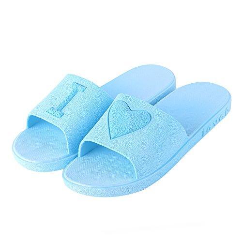 Eizur Chaussons de douche Les amoureux Eté Antidérapant Pantoufle de salle de Bain Unisexe Pantoufles de maison Chaussures de piscine Sandales de plage pour Hommes Femmes