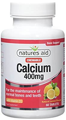 Natures Aid Chewable Calcium, 400 mg with Vitamin D3, 60 Tablets (for the Maintenance of Normal Bones and Teeth, Vegan Society Approved, Made in the UK) by NAVX2