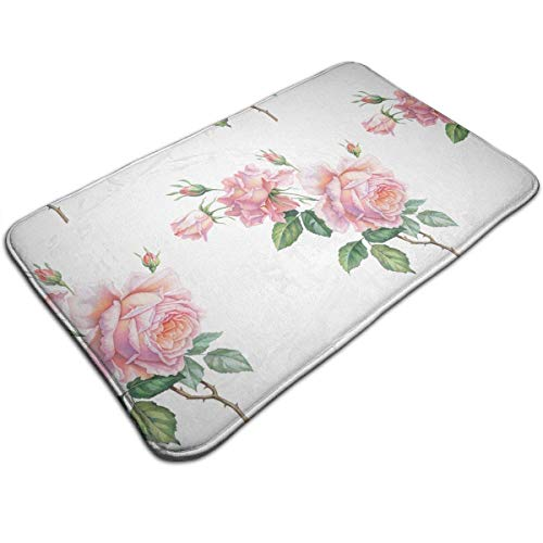 dfegyfr Pink White Vintage Roses Flowers Doormat Anti-Slip House Garden Gate Carpet Door Mat Floor Pads 19.5x31.5 Inch -