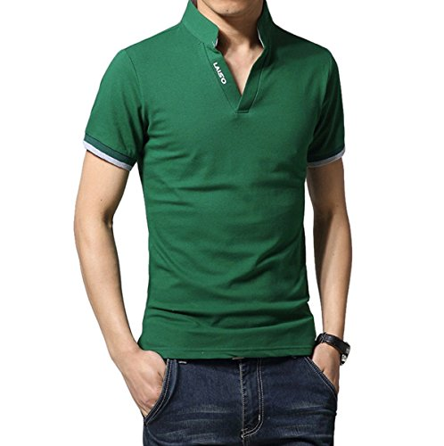 LIANIHK Herren Poloshirt Hemd kurzarm Basics Atmungsaktiv Multi-Color T-Shirt Casual Shirt Tees Grün