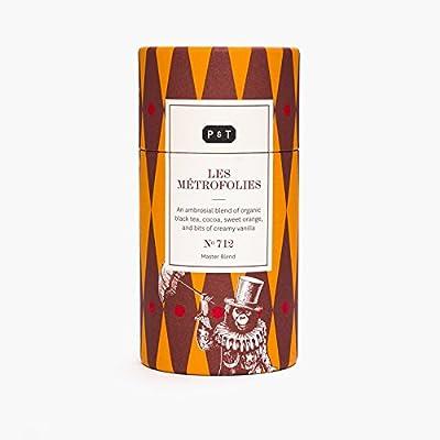 P & T Les Métrofolies, Master Blend de Thé Noir Bio en Vrac, Mélange de Thé Noir Chinois avec du Chocolat et de l'Orange, Boîte Design (100g/3,5oz)