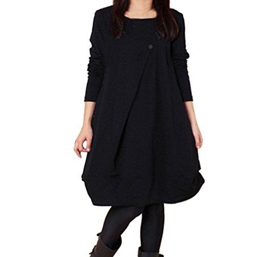 OVERDOSE Damen Casual übergroße Langarm Lose Kleid Jumper Dress Party Kleider Bluse Tops Blusenkleid(A-Schwarz,EU-40/CN-XL) -