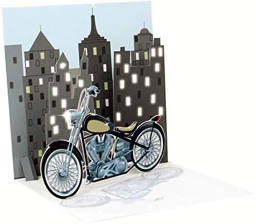Pop Up 3D Karte mit LICHT Geburtstag Grußkarte Männer Motorrad 13x13cm