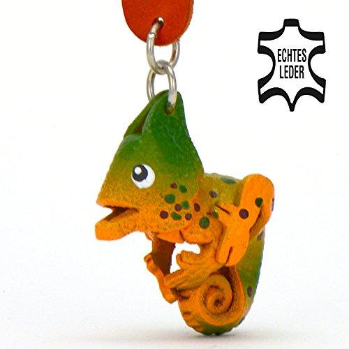 Chamäleons und Co Carolin - Schlüsselanhänger Figur aus echtem Leder in der Kategorie Spielzeug Kuscheltier von Monkimau in orange - Dein bester Freund. Immer dabei! - 5x2x4cm LxBxH klein, jeweils (Spiegel Der Mann Kostüm)