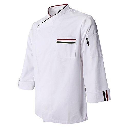 Fenteer Atmungsaktive Kochjacke Langarm Bäckerjacke Kochhemd Arbeitsjacke Gastronomie Koch Berufsbekleidung - Weiß, 2XL (Koch-hemd)