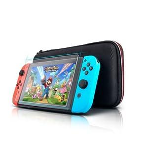 Nintendo Switch Console Schwarz Schlank Reisetasche Tasche Inklusive gehärtetem Glas Displayschutzfolie