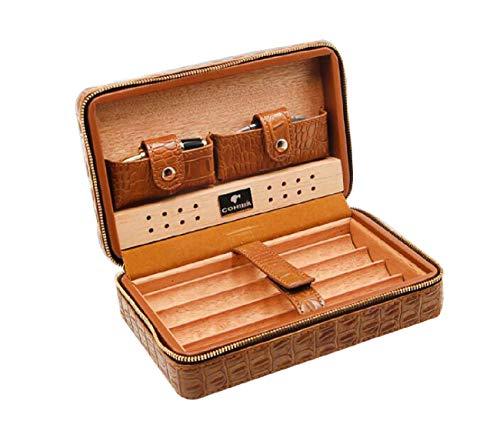 Qwertyuio Reise-Zigarren-Humidor, Leder-Zigarrenkiste mit Zigarrenabschneider und Tropfer Tragbarer Reise-Zigarrentabak