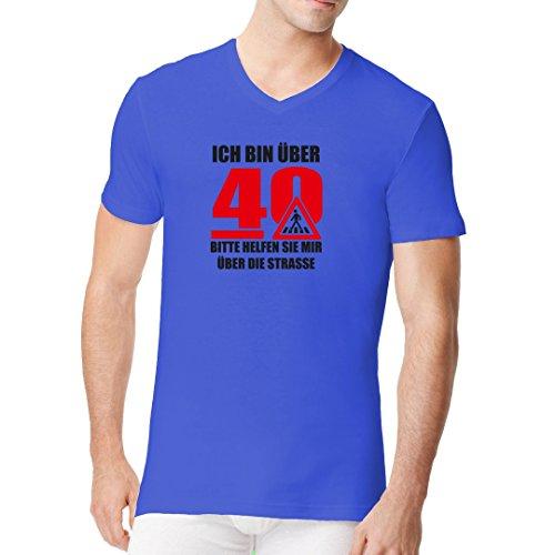 Fun Sprüche Männer V-Neck Shirt - Ich bin über 40 by Im-Shirt Royal