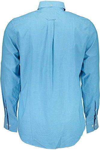 5708Q camicia uomo GANT REGULAR FIT PINPOINT OXFORD bianco shirt long sleeve men AZZURRO 417