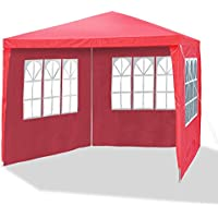 Garden pavilion 3 x 3 m, Ø 24/18 mm, red, incl. 4 side walls / 3 x windows / 1 door with zip, PE 110G material, all-purpose party tent, garden tent, metal bars, waterproof,plastic binder, tent pegs and ropes