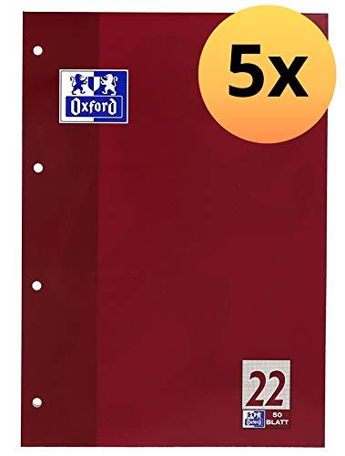 OXFORD 100050348 Schulblock Schule 5er Pack A4 Lineatur 22 - kariert 4-fach gelocht 50 Blatt kopfverleimt Notizblock Schreibblock Papierblock