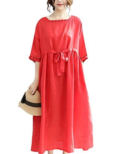 Youlee Damen Sommer Schwarz Hohe Taille Kleid Rot