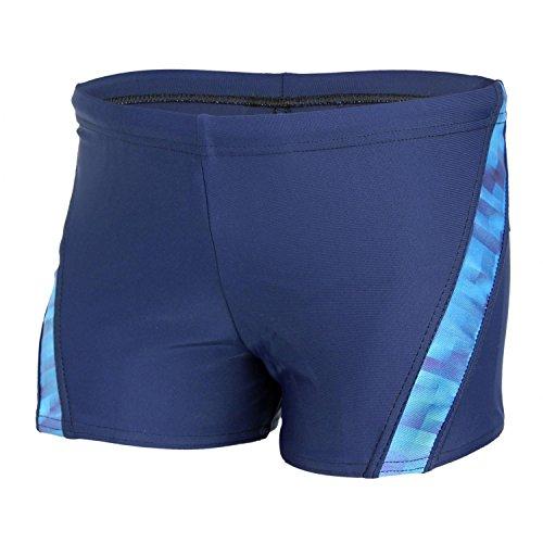 Aquarti Jungen Badehose Schwimmhose kontrastfarbige Einsätze, Farbe: Dunkelblau / Blau, Größe: 152