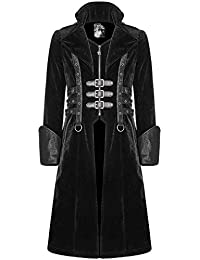 33ef7773a180a5 Punk Rave Mens Gothic Coat Jacket Long Black Velvet Steampunk Highwayman  Leather