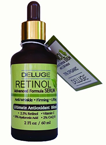 Advanced Antioxidant Serum (Retinol Serum Advanced Formula with Vitamin C, Hyaluronic Acid, CoQ10, Antioxidant Blend. Anti-aging, Firming & Lifting, Excellent for Sensitive Skin. 70% ORGANIC. by DELUGE)