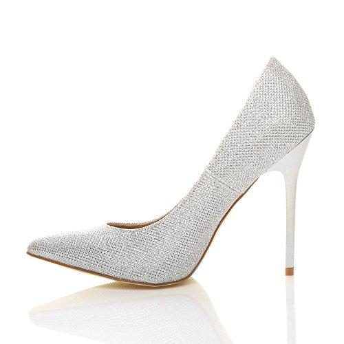 Femmes À Talons Hauts Travaillent Élégant Parti Chaussures De Mode Pointu Orteil Taille Silver Glitter Miroitement