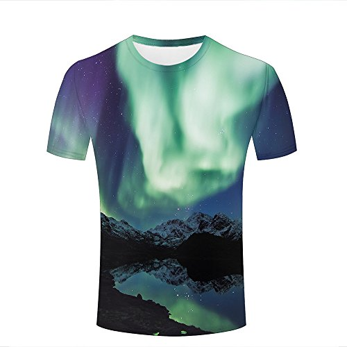 Herren 3D Print Aurora Borealis Northern Lights Mountains Graphic Summer Casual Short Sleeve T Shirts Fashion Couple Tees XL - Little Guy T-shirt