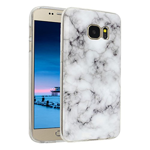 Handyhülle Galaxy S7 Marmor, Asnlove Silkon Galaxy S7 G930 Marble Hülle Silicone TPU mit IMD Schale Case Cover Tasche Schutzhülle für Samsung Galaxy S7 G930F, Blau Color-2