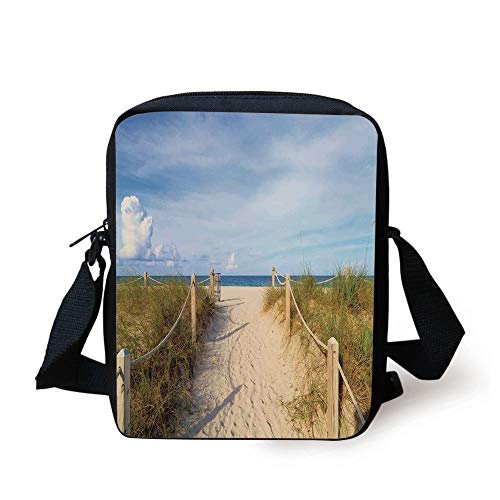Beach,Golden Sandy Beach South Miami with Fences American Style Holiday Login Relax Image,Cream Blue Print Kids Crossbody Messenger Bag Purse