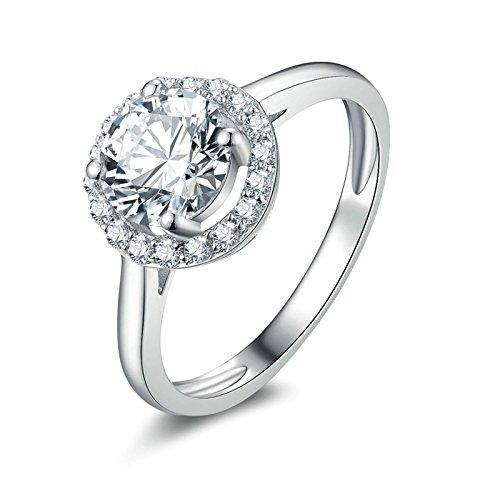 (Custom Ringe)Adisaer Ring 925 Sterling Silber Damen Kreis Diamant Kristall Runde CZ Trauringe Größe 58 (18.5) (Pferd Arabische Das Muster Kostüm)