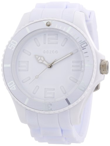 Oozoo Herren-Armbanduhr XL Analog Silikon C4341 total white