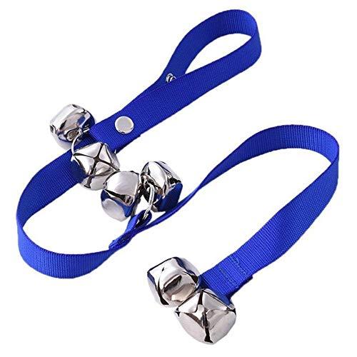 NAOAO Ajustable Cuerda con Campanas para Perro Cachorro Puerta para Formación Timbre Cuerda para Formación, Suministros para Mascotas(Azul)