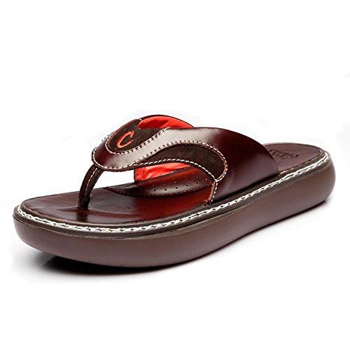 Vt11901 Moda Verão Grossas Para Couro Castanho A Genuíno Chinelo Usar E De Sandálias Mens Claro Solas Confortável wSxgxf