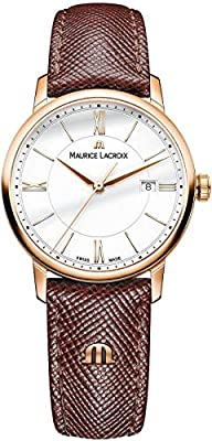 Maurice Lacroix Womens Analogue Quartz Watch with Leather Strap EL1094-PVP01-111-1