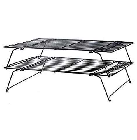 Kabalo Stainless Steel 2 Tier Baking Wire Cake Cooling Rack for Cupcakes, Biscuits & Pastries