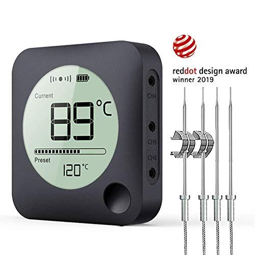 Bfour Bluetooth Grillthermometer, BBQ Fleischthermometer Steak Thermometer Bratenthermometer mit 4 verbesserten Edelstahlsonden, APP-Fernalarmmonitor zum Grillen, Küche ,Räucherofen und Kochen