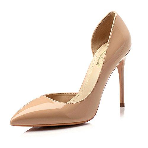 YIXINY Escarpin M388-1 Chaussures Femme PU+Caoutchouc Side Vide Pointu La Bouche Peu Profonde Talon Mince 8.5/10cm Talons Hauts Couleur Nude