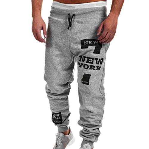 KPILP Herren Männer Chino Stoffhose Jeans Lange Hose Mode Freizeithose Jeanshosen Beiläufig Hose Jogginghose (Grau,L) - Mercer Fit Chino