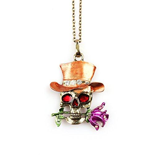 BESTOYARD Halloween Punk Skull Colgantes Mago Diamante Rosa...