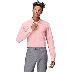 FIND Camisa Clásica Ajustada Para Hombre, Rosa (Pink), Small