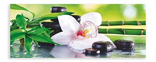 Artland Qualitätsbilder I Panorama Glasbilder Deko Breit 125 cm Hoch 50 cm Wellness Zen Grün Spa Steine Bambus Zweige Orchidee Feng Shui