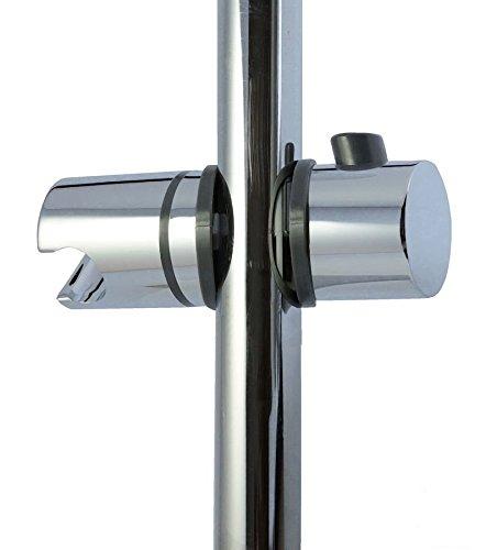 tecuro Universal Aufsteck-Gleiter Schieber Brausehalter für Wandstange 25 mm zur nachträglichen Montage