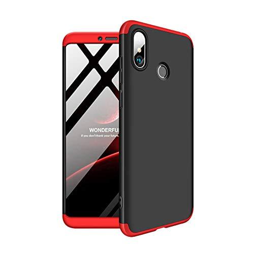 SOCINY Caso Xiaomi Mi polegadas Max 3, 360 protecção licenciatura plena cobertura do corpo em 3 1 anti-riscos Caso Combinação PC ultrafinos mate Capa de Couro anti-choque para Xiaomi Mi-Max 3 Preto + Vermelho