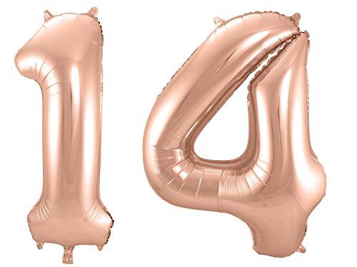 Folat 800044 - Folienballon - Zahl 14 - rosegold - ca. 86 cm hoch -