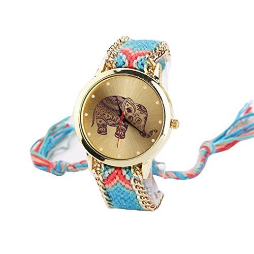 HUIHUI Uhren Damen, Geflochten Armbanduhren Günstige Uhren Wasserdicht Beliebte Casual Elefant Muster gewebt Seil Band Armband Quarzuhr Coole Uhren Lederarmband Mädchen Frau Uhr (Rot + Blau)