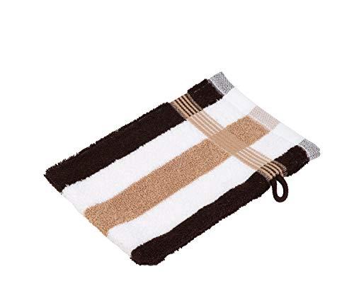 Gözze, lot de 4 gants de toilette rayés blanc, marron et moka, 17x24 cm , 100% coton, excellente qualité 550 g/m², moelleux et utra doux Standard 100