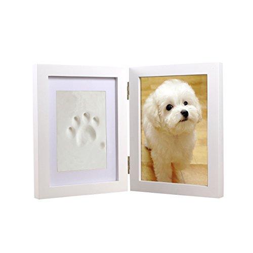 UEETEK Cornice impronte per mani Cornice con calco per foto e impronta di piedini/bambini/mani/zampe in legno bianco