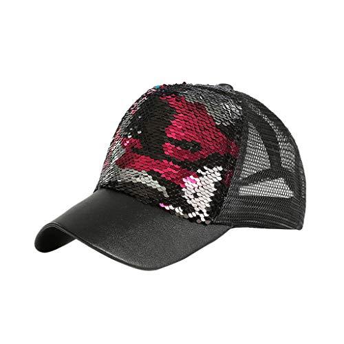 Syeytx Unisex Outdoor Pailletten Farbe Baseball Zwei-Farben-Zebra Meerjungfrau Caps Einstellbarer Hut